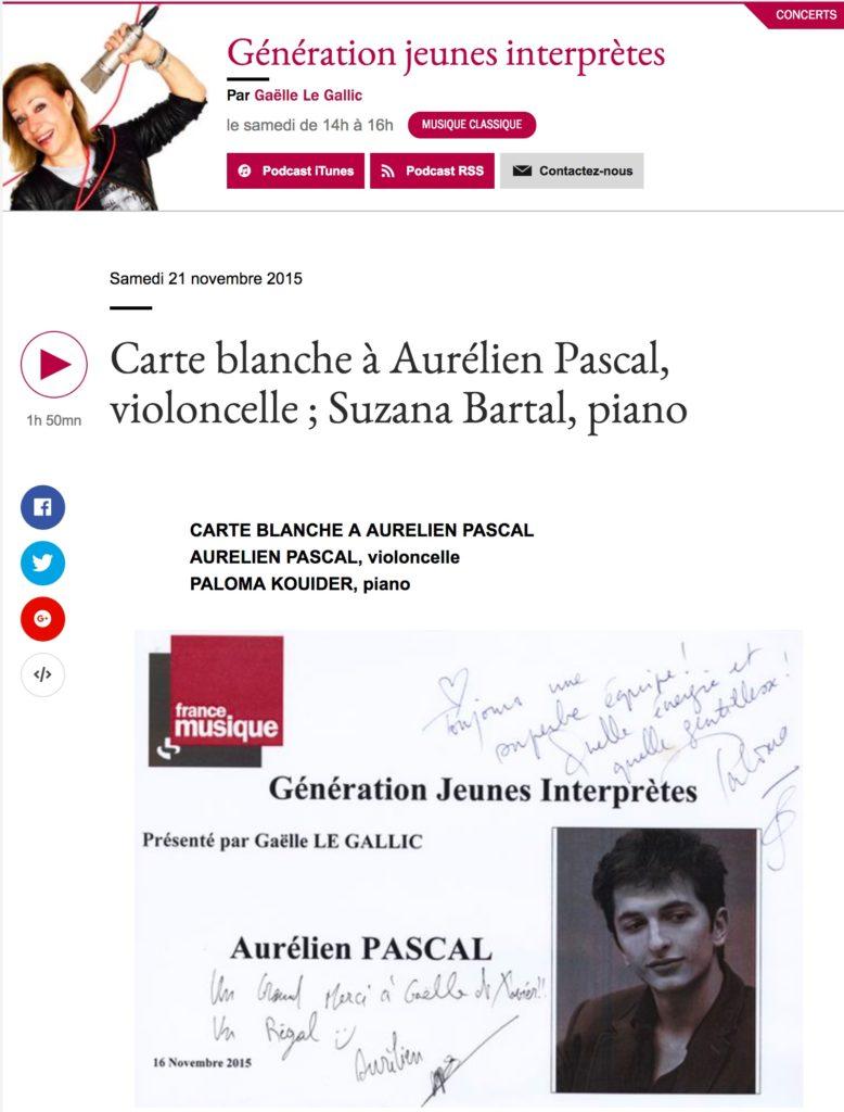 France Musique, Génération jeunes interprètes, Carte blanche à Aurélien Pascal, violoncelle